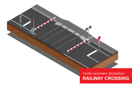 locomotion: isometric illustration of  Railway crossing.