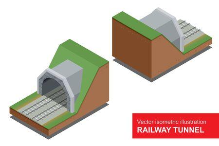 thoroughfare: Vector isometric illustration of  railway tunnel. Illustration
