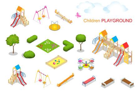 seesaw: Children playground. Flat 3d isometric vector illustration for infographics. Swing carousel sandpit  slide rocker  rope ladder bench