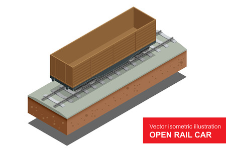 boxcar: Open rail car for transportation of bulk cargoes. Rail covered wagon. Vector isometric illustration of  rail covered wagon. Rail freight transportation Illustration