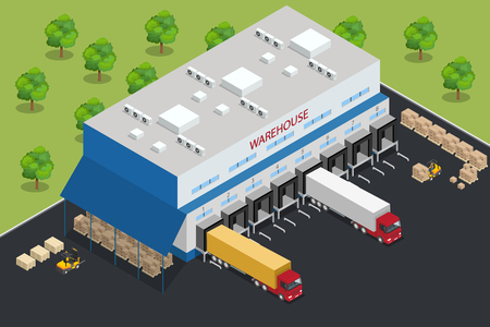 refrigerated: Warehouse equipment. Shipping and delivery flat elements. Illustration