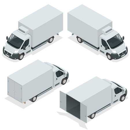 Set of icons truck for transportation cargo. Van for the carriage of cargo. Delivery car. Vector isometric illustration