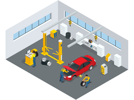 service: Auto mechanic service. Service station. Flat icons of maintenance car repair and working.  Isolated vector isometric illustration