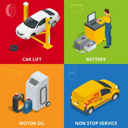 tire repair shop: Car repair concept. Tire service, meter, Auto mechanic service, maintenance car repair and working 3d flat set. Car repair mechanic illustration