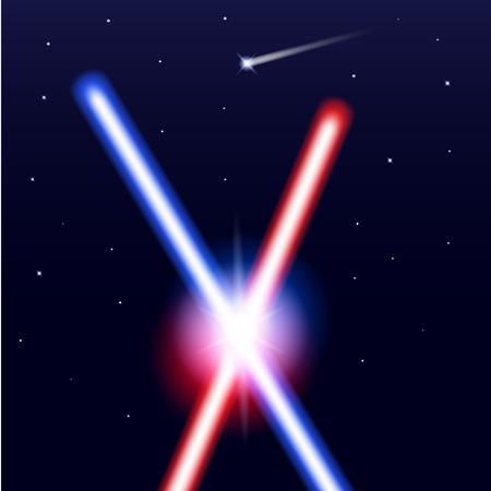 별과 격리 된 검은 색 바탕에 빛 칼을 교차. 현실적인 밝고 화려한 레이저 빔. 벡터 일러스트 레이 션 일러스트