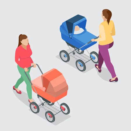 perambulator: Mother pushing a baby stroller isolated against background. Isometric vector illustration - mother with baby in stroller.