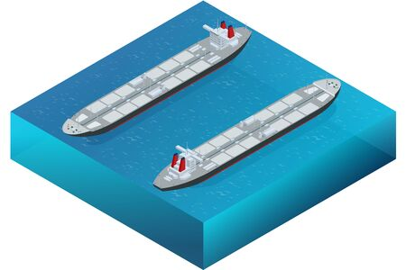 tanker ship: Oil tanker. Oil and gas industry and sea transportation, shipping and logistics business trading commerce concept Industrial oil and chemical commercial tanker ship vessel in blue ocean Illustration