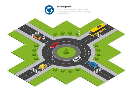 Rotonda, coches, signo de la carretera rotonda y rotonda. Asfaltada carretera de circunvalación. Vector ilustración isométrica de la infografía. tráfico de la ciudad