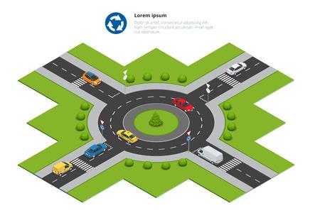 Rotonde, auto's, rotonde ondertekenen en rotonde weg. Geasfalteerde weg Circle. Vector isometrische illustratie voor infographics. stadsverkeer