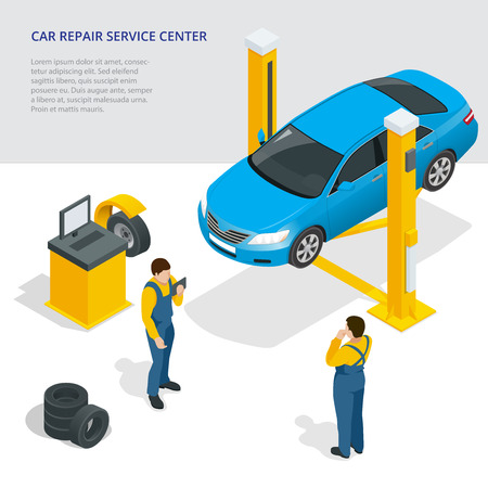 paint gun: Car repair service center. Illustration