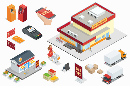 Supermarket exterior minimarket exterior Credit Cards ATM machines POS Terminal  online shoping cargo truck fruits and vegetables in wooden box light box Shopping cart.