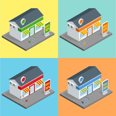 supermarket series: Shop, supermarket exterior.