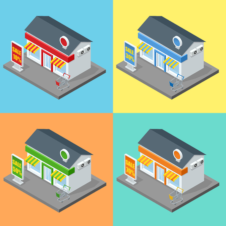 supermarket series: Shops stores and supermarket buildings flat decorative icons set isolated vector isometric illustration