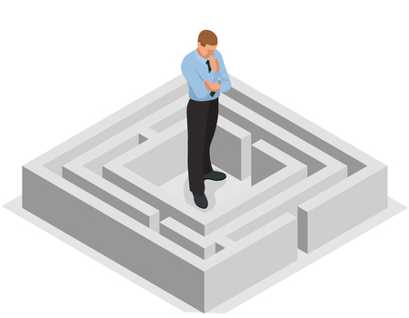 finding: Various ways. Solving problems. Businessman finding the solution of a maze. Business concept. Illustration