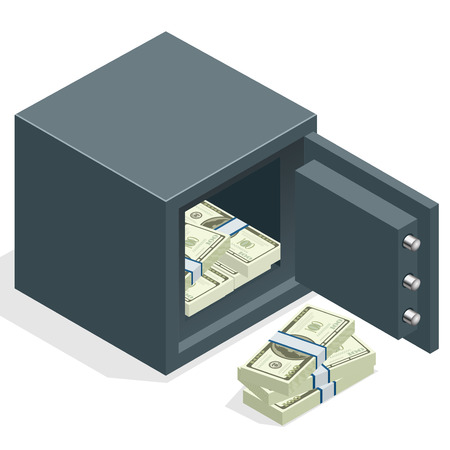 secret identities: Bank safe with money dollar stacks. Safe open with money. Vector isometric illustration