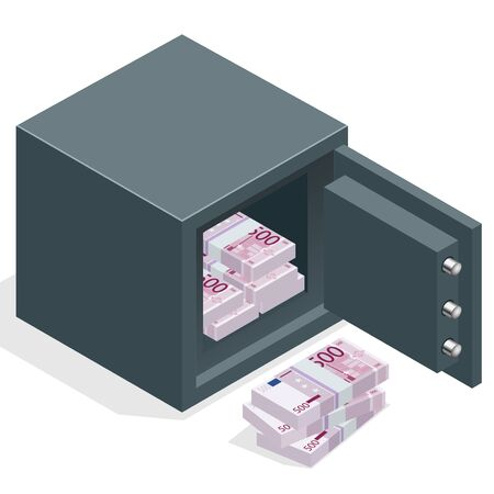 money euro: Bank safe with money euro stacks. Safe open with money. Vector  isometric illustration