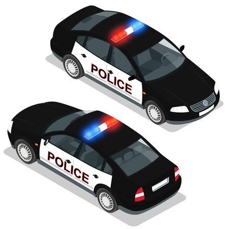 Flat 3d isometric high quality city service transport icon set. Police car. Build your own world web infographic collection. Set of the isometric police car  with front and rear views