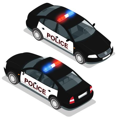 establecer plano en 3D isométrico de alta calidad icono de servicio de transporte de la ciudad. Coche de policía. Construir su propia colección infografía mundo web. Conjunto de los coches de la policía isométrica con vistas delanteras y traseras