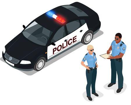 interceptor: Flat 3d isometric illustration police car and policeman. Isolated isometric police car and policeman. 3D isometric police car and police officer. Isometric vector policeman, police officer