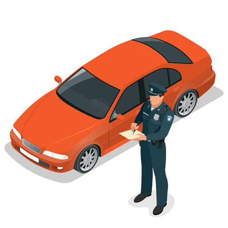 Policeman writing speeding ticket for a driver. Road traffic safety regulations.