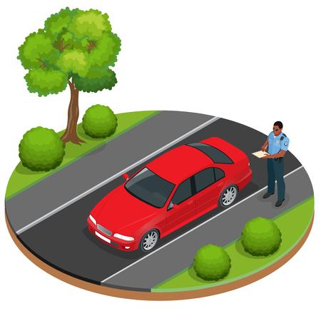 ドライバーの警官の書き込みのスピード違反の切符。道路交通安全規則。警察の役人の悪い駐車場のチケットを与える税を払っていません。警察官