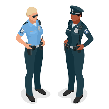 handcuffs woman: Policewoman in uniform. Realistick flat 3d isometriv vector illustration. Officer woman isolated on white