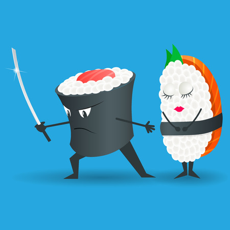 Samurai vector sushi cartoon character illustration. Japanese food.Sushi set.