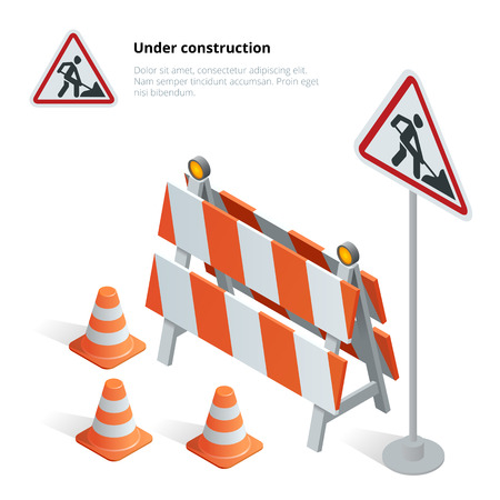 under construction symbol: Road repair, under construction road sign, Repairs, maintenance and construction of pavement, Road closed sign with orange lights against. Flat 3d vector isometric illustration