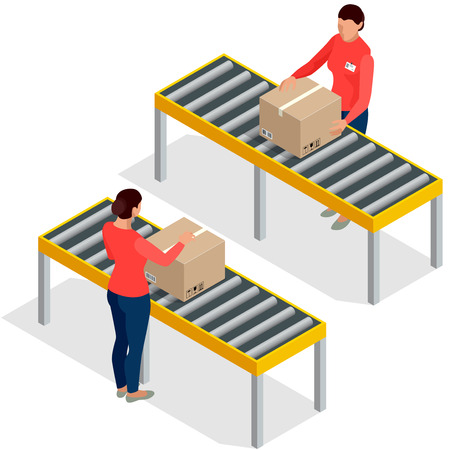 dispatch: Worker goods packaging with boxes at packing line in factory. Workers In Warehouse Preparing Goods For Dispatch. Flat 3d isometric vector illustration. Illustration