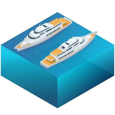Yacht, water carriage and maritime transport. Water transport realistic icons