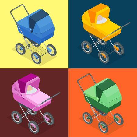 perambulator: Baby pram, pushchair, stroller, perambulator. Vector 3d flat isometric illustration, baby carriage isolated