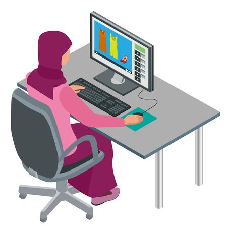 アラブの女性、イスラム教徒の女性、コンピューターとオフィスで働くアジアの女性。魅力的な女性アラビア語企業の労働者。フラット アイソメ図