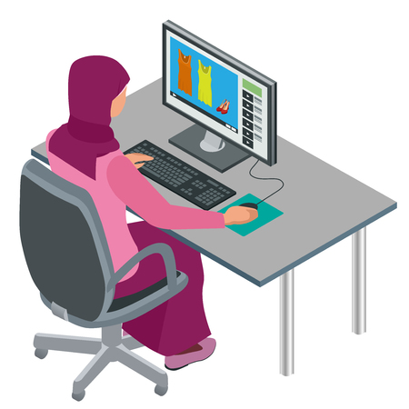 Arab woman, Muslim woman, Asian woman working in office with computer. Attractive female Arabic corporate worker. flat isometric illustration
