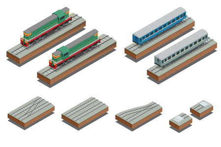 diesel train: Fast Train diesel electric locomotive. isometric illustration of a Fast Train. Vehicles designed to carry large numbers of passengers. Flat Style Illustration