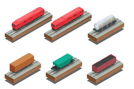 boxcar train: isometric illustration of Diesel Locomotive, Rail covered wagon, Open rail car for transportation of bulk cargoes. Illustration