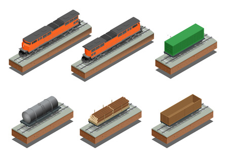 boxcar train: Diesel Locomotive, Rail covered wagon, Open rail car for transportation of bulk cargoes. isometric illustration