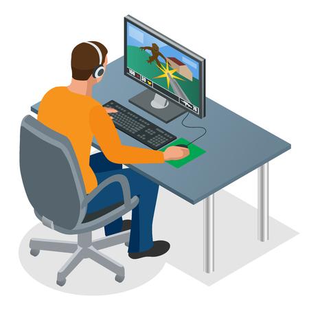 게이머는 PC에서 재생합니다. 플레잉 게임을 위해 컴퓨터를 사용하여 헤드폰과 안경에 집중 젊은 게이머. 남자는 노트북 화면을보고. 일러스트