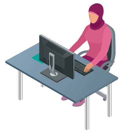 asian business woman: Arab woman, Muslim woman, asian woman working in office with computer. Attractive female Arabic corporate worker. Illustration