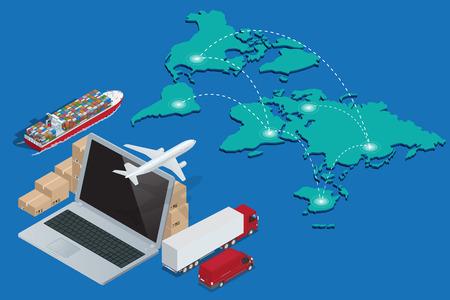 Global Logistics networ. Pojęcie ładunków lotniczych przewozów kolejowych ładunków żeglugą morską odprawy celnej. Ilustracje wektorowe