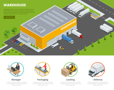 delivery service: Page web design template Set of flat vector web banners on the theme of Logistics, Warehouse, Freight, Cargo Transportation. Storage of goods Illustration