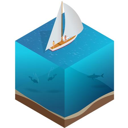 Yacht, water carriage and maritime transport. Water transport realistic icon Vektoros illusztráció