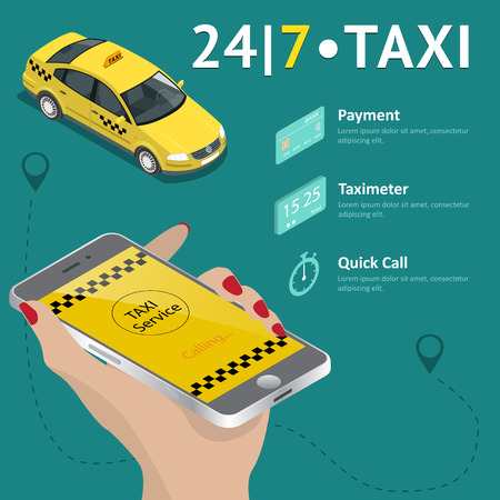 taxi sign: Taxi service. Taxi mobile app template set. Smartphone and touchscreen, map and pointer, gps navigation. Vector illustration