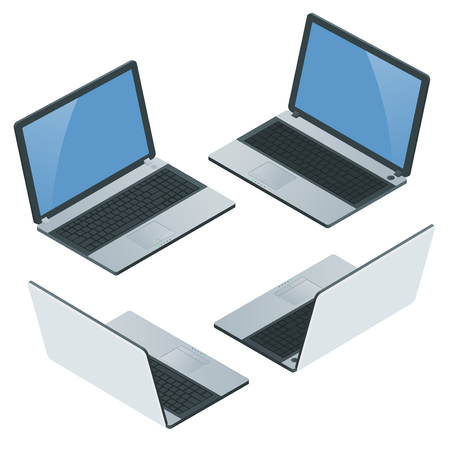 Laptop with blank screen isolated on white background. Laptop Icon. Realistic flat 3d isometric vector illustration. Computer mobility