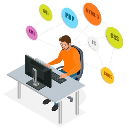 using the computer: Desarrollador usa el ordenador portátil. Concepto de desarrollo Web. concepto de programación web. Programación, codificación, pruebas, depuración, analista, desarrollador de código 3D isométrico ilustración vectorial Vectores