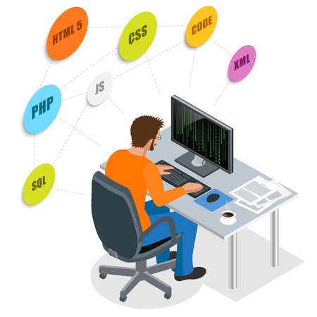 Developer Using Laptop Computer. Web Development concept. Web programming concept. Programming, coding, testing, debugging, analyst, code developer  3d isometric vector illustration Ilustracja