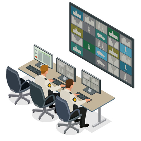 Security guard watching video monitoring surveillance security system. Mans In Control Room Monitoring Multiple Cctv Footage. Video surveillance concept. Flat isometric vector illustration