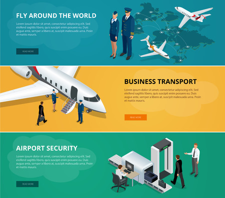 private jet: Airport web banner set. Concept of international private airline. Flying commercial and private personal transport passenger jet. Fly around the world, business transport. Flat 3d isometric vector Illustration