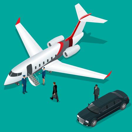 piloto: El hombre de negocios con equipaje caminando hacia jet privado en el terminal. Bussines concepto azafata, piloto, limusina, para aviones ejecutivos. Vector 3d ilustración isométrica plana. Las aerolíneas comerciales Vectores