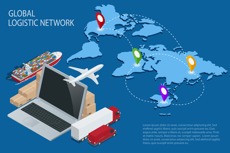 Global logistics. Global logistics network. Logistic isometric concept. Logistic Insurance. Ship cargo concept. Logistic international trade. Customs clearance Documentary support international trade Illustration