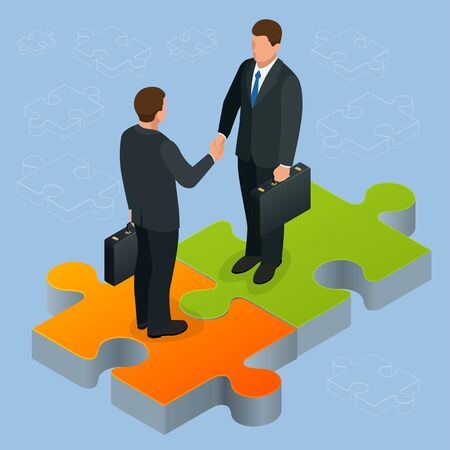 Business and finance concept. Handshake isometric. Partnership flat 3d isometric illustration. Two businessmen shaking hands Business People Corporate Success Concept Concept of business and agreement Illustration